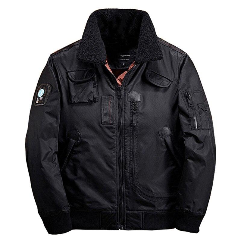 Euramerican hommes hiver épais thermique col en laine Parkas pilote Bomber veste mâle revers cardigan à fermeture éclair chaud moto manteau hauts