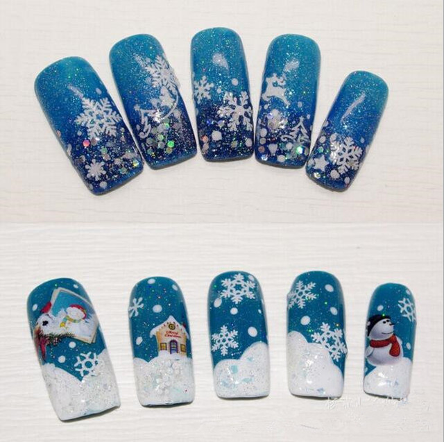 12pcs New Year Nail Art Sticker Decals Christmas Water Transfer 3d