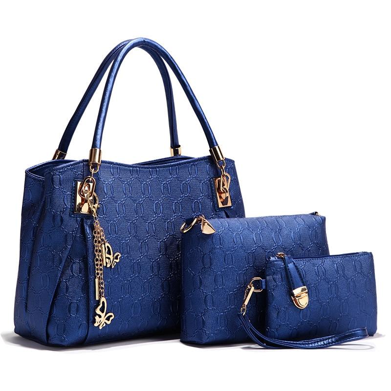 2017 Women Shoulder Bags Set 3 Pcs Leather Handbag Casual Shopping Bags Ladies Brand Designer Bag Handbag+Messenger Bag+Purse