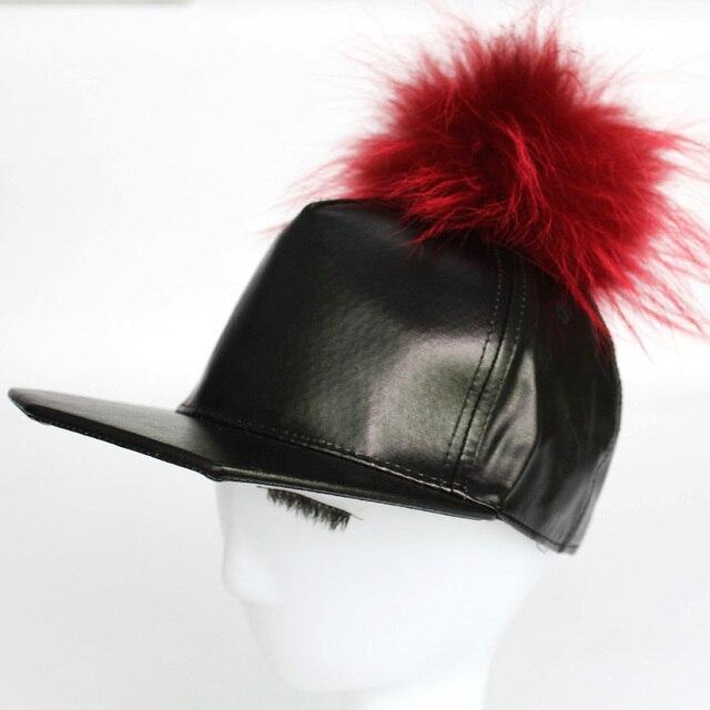 Мода Женщин Snapback Хип-Хоп Шляпы ПУ Кожа Бейсболки Мужские Реального Норки Pom poms Меха Бейсболка