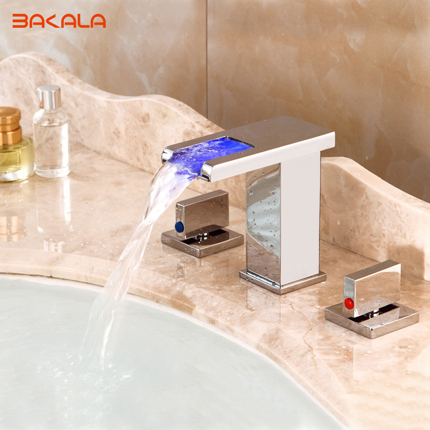 BAKALA all bronze Dual Handles Waterfall Spout LED Colors Basin Sink Faucet Deck Mount 3pcs Bathroom Mixer Tap new arrive dual square handles waterfall spout bathroom sink basin faucet brushed nickel deck mount