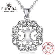 EUDORA 100% Real 925 Sterling Silver Celtic Knot Tree of Life Pendant Necklaces For Women Men Fashion Jewelry Party Gift CYD192