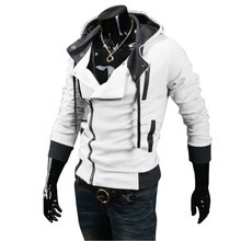 2017 New Autumn & Winter Oblique Zipper Casual Slim Long Sleeve Hiphop Assassin Creed Hoodies Sweatshirt Outerwear Jackets