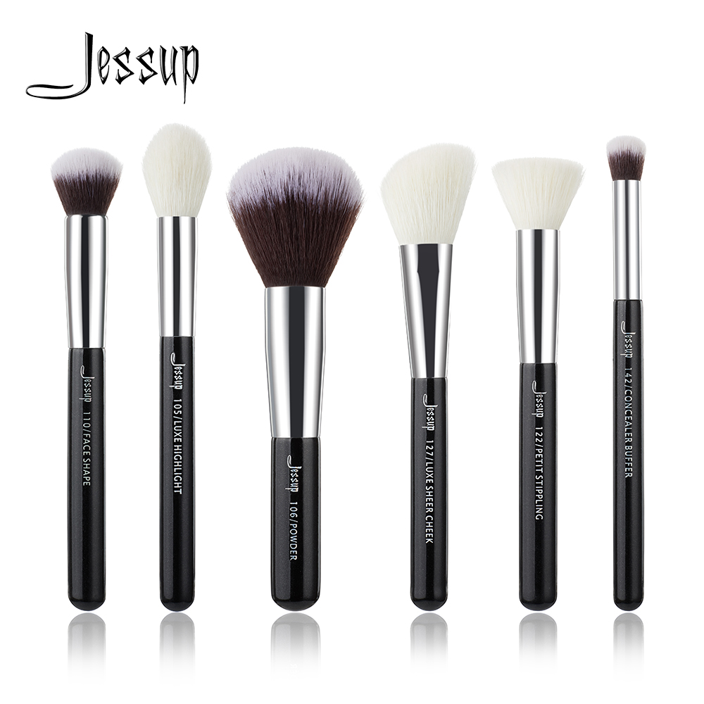 Jessup Black/Silver Professional Makeup Brushes Set Make up Brush Tools kit Buffer Paint Cheek Highlight natural-synthetic hair jessup pearl white silver professional makeup brushes set make up brush tools kit foundation stippling natural synthetic hair