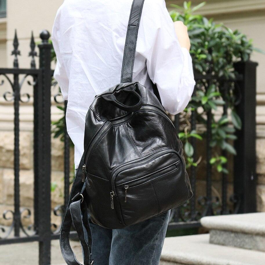 Nouveau cuir Double epaules sac japon corée mode tendance sac à dos en cuir loisirs décontracté étudiant sac - 5