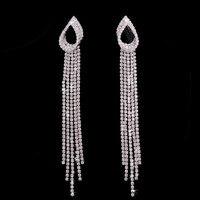 2017 Women Fashion Jewelry Crystal Vintage Long Tassel Earrings rhinestone Drop Dangle Earrings Statement Jewelry lady gift