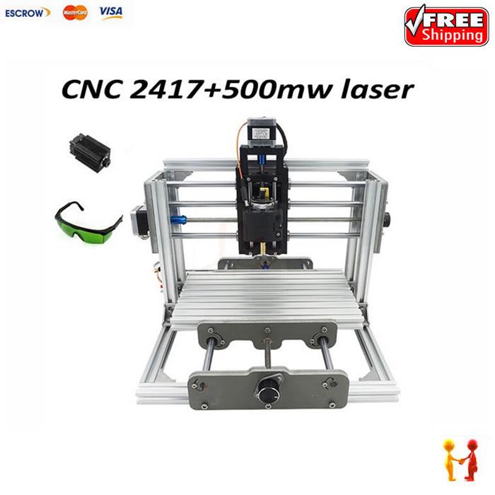 2417 mini CNC machine 500mw laser engraver diy cnc milling router with GRBL control mini cnc router with 500mw laser head pcb milling machine work area 240 170 65mm
