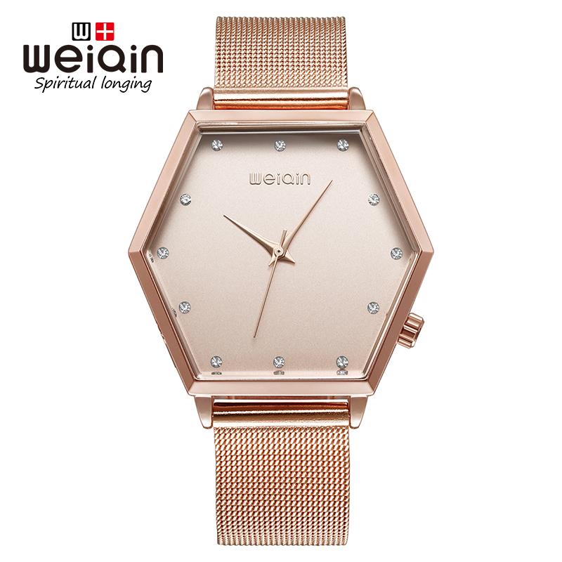 WEIQIN 2017 New Luxury Crystal Gold Women Watches Full Steel Fashion Bracelet Quartz Watch Women Bracelet Wristwatch Reloj Mujer weiqin new 100% ceramic watches women clock dress wristwatch lady quartz watch waterproof diamond gold watches luxury brand