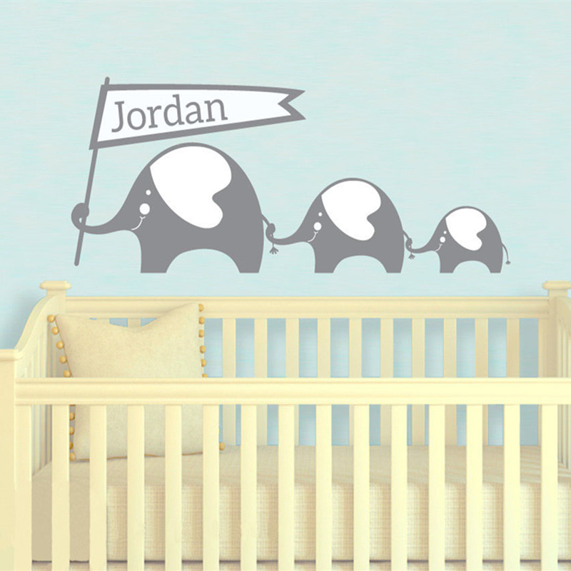 Elephant House Wall Sticker and Custom Baby Names Decals Elephant ...