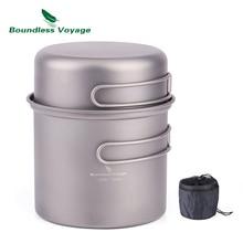 Boundless Voyage Titanium Pot Bowl with Titanium Folding Handle Outdoor Camping Picnic Cookare Tableware Set 1L Ti1502B