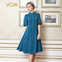 VOA 2017 Summer Blue Heavy Silk Women A Line Dress Fashion Beading Ruffle Sleeve Plus Size
