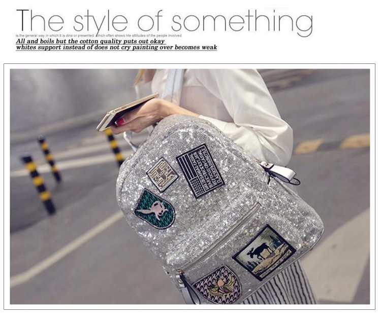 Female star with a backpack bags 2019 spring backpack bag bag Korean tide Sequin sequins 11
