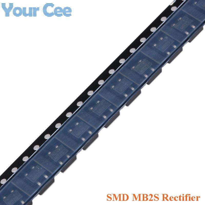 Único-fase de Passivação de Vidro Original 0.5 – 0.8a 200 v Ponte Retificadora 100 Pcs Smd Mb2s
