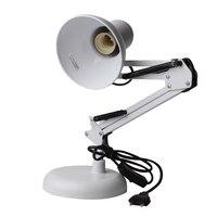 White Adjustable Swing Arm Office Studio Clamp Table Desk Lamp Light