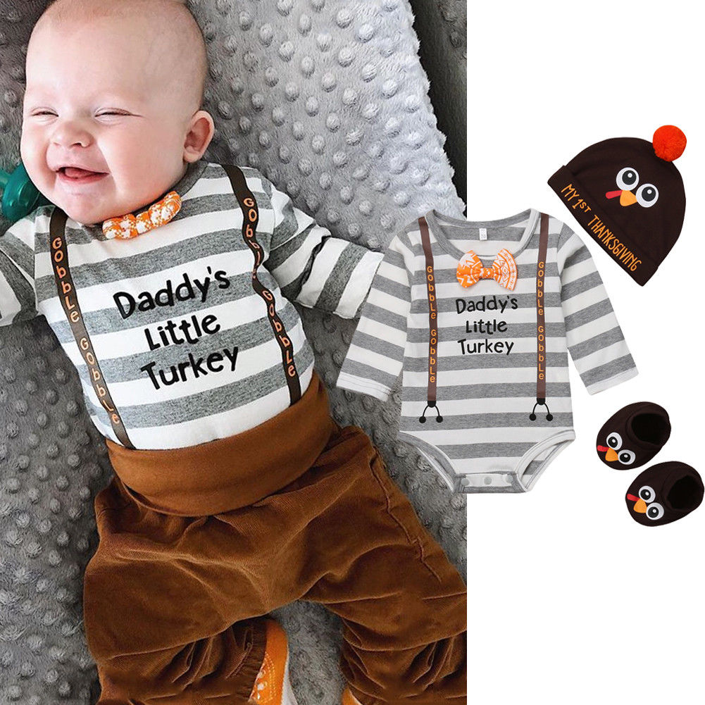 Thanksgiving Day Newborn Baby Boy Turkey Clothes Set Fashion Long Sleeve Bodysuit Tops Hats Socks Boys Casual Outfits Sets