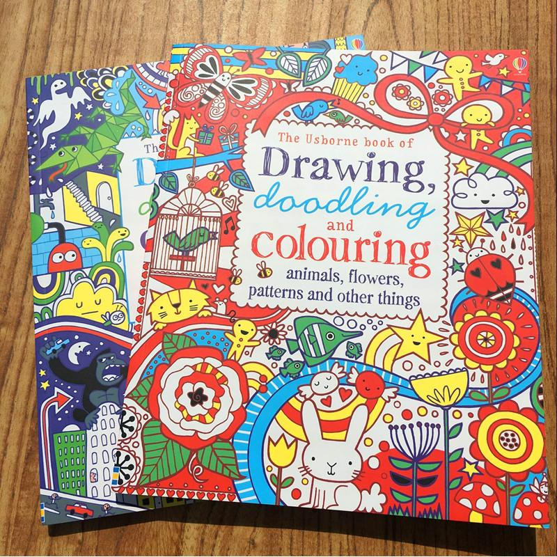 126 pages children thick English drawing and colouring books/ 30*25cm big size kids animal/ flowers/ drawing toys, free shipping drawing doodling colouring pirates dinosaurs machines and other things