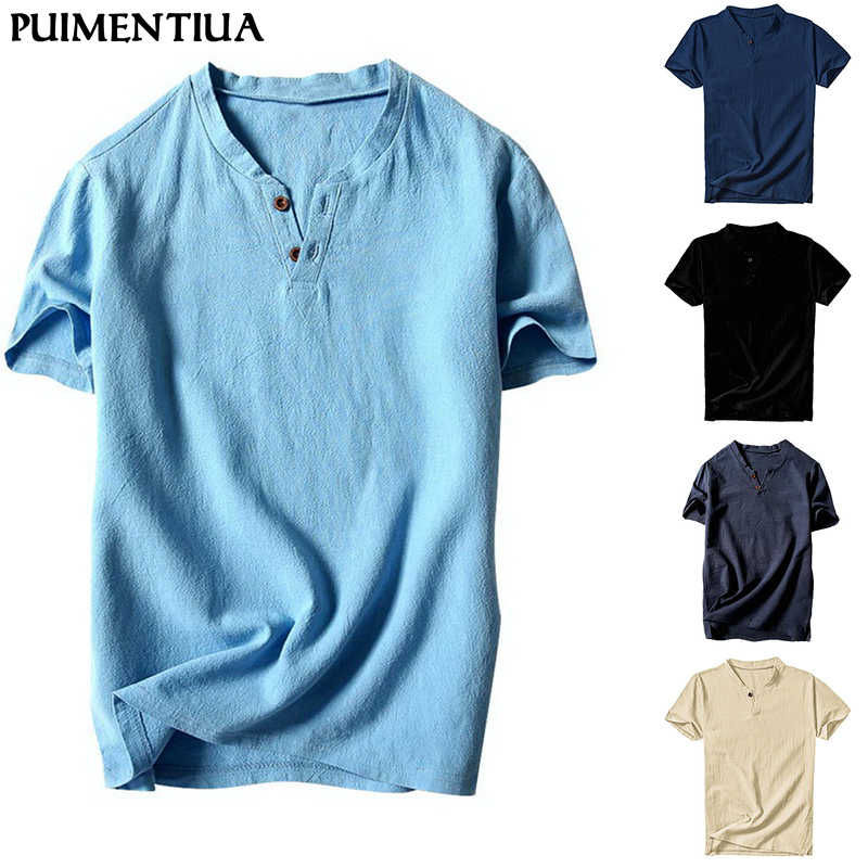 Puimentiua Zomer Fashion Heren V-hals Katoen Linnen Korte Mouw Casual Henley T-shirt Top Homme Button Solid Slim Tees Shirts