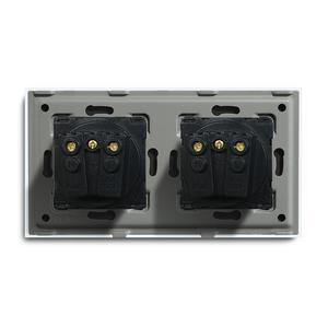 Image 5 - Bseed Dubbele Socket Eu Standaard Stopcontact Wit Zwart Gloden Crystal Glass Panel 157mm16A 110V 250V