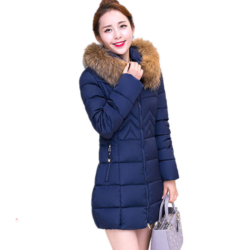 Green jacket winter new thick cotton padded hooded large fur collar Slim women winter jacket medium long overcoat TT50 ftlzz new women winter jacket cotton coat slim large fur collar hooded parkas padded warm thickness medium long black overcoat