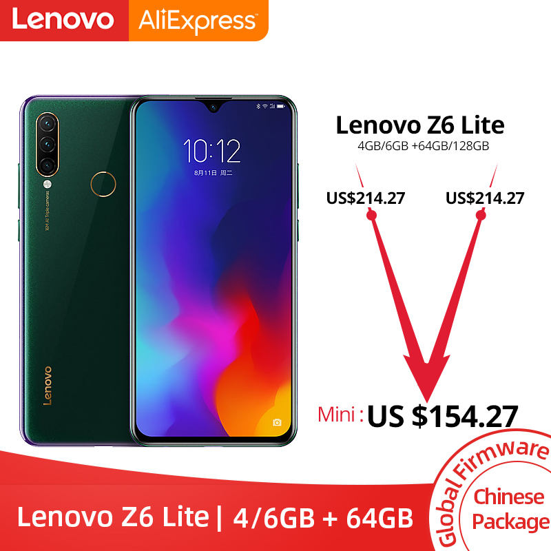 Original Lenovo Z6 Lite 4GB 64GB Snapdragon 710 Octa Core Triple Back Cams 6.3 Inch 19.5:9 Water Drop 4050mAh Smartphone(China)