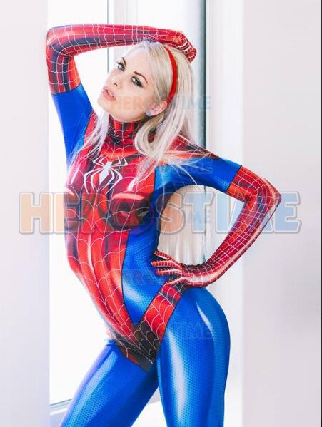 MJ Jamie Spider Costume Mary Jane 3D Printed Spandex Mary Jane Girl Cosplay Suit Custom Made Zentai Spider-woman Lycra Bodysuit