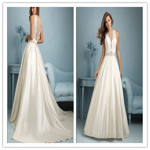 Islamic Wedding Dress Satin Lace Wedding Dress See Through Deep V ...