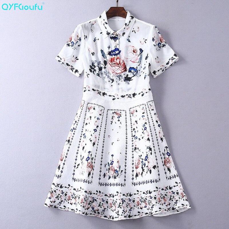 QYFCIOUFU 2019 été robe blanche élégante femmes à manches courtes créateur de mode imprimé Floral piste robe formelle tenue décontractée