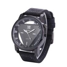 Relogio feminino Women Watch Skeleton Watches Triangle Watch New Style Unisex Simple Quartz Wristwatch Canvas Strap Watch Hot