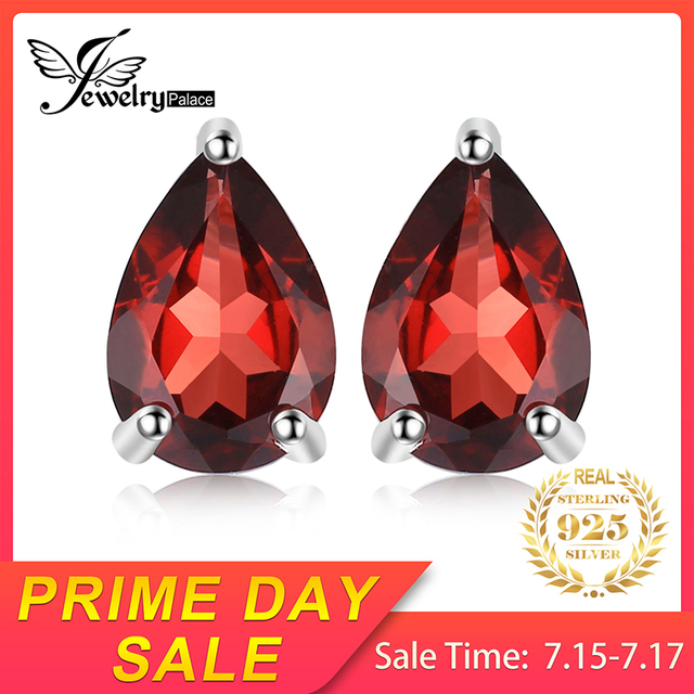 Water Drop Garnet Stud Earrings