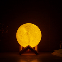 LightMe Premium Rechargeable 3D Print Moon Lamp 2 Color Change Touch Switch Bedroom Bookcase Night Light