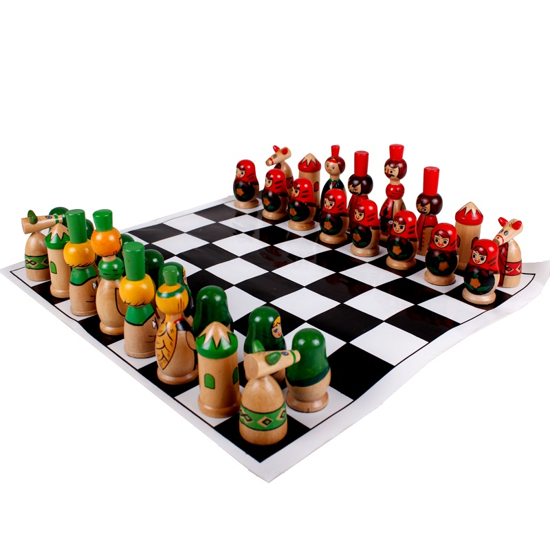 Foreign Trade High-grade Large Solid Wood Chess Checkers Children Into The Table Code People Chess Game цена