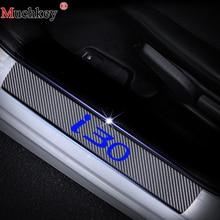 Car Door Sill Protector Scuff For Hyundai I30 4D Carbon Fiber Vinyl Sticker sill guard Interior Accessories 4Pcs