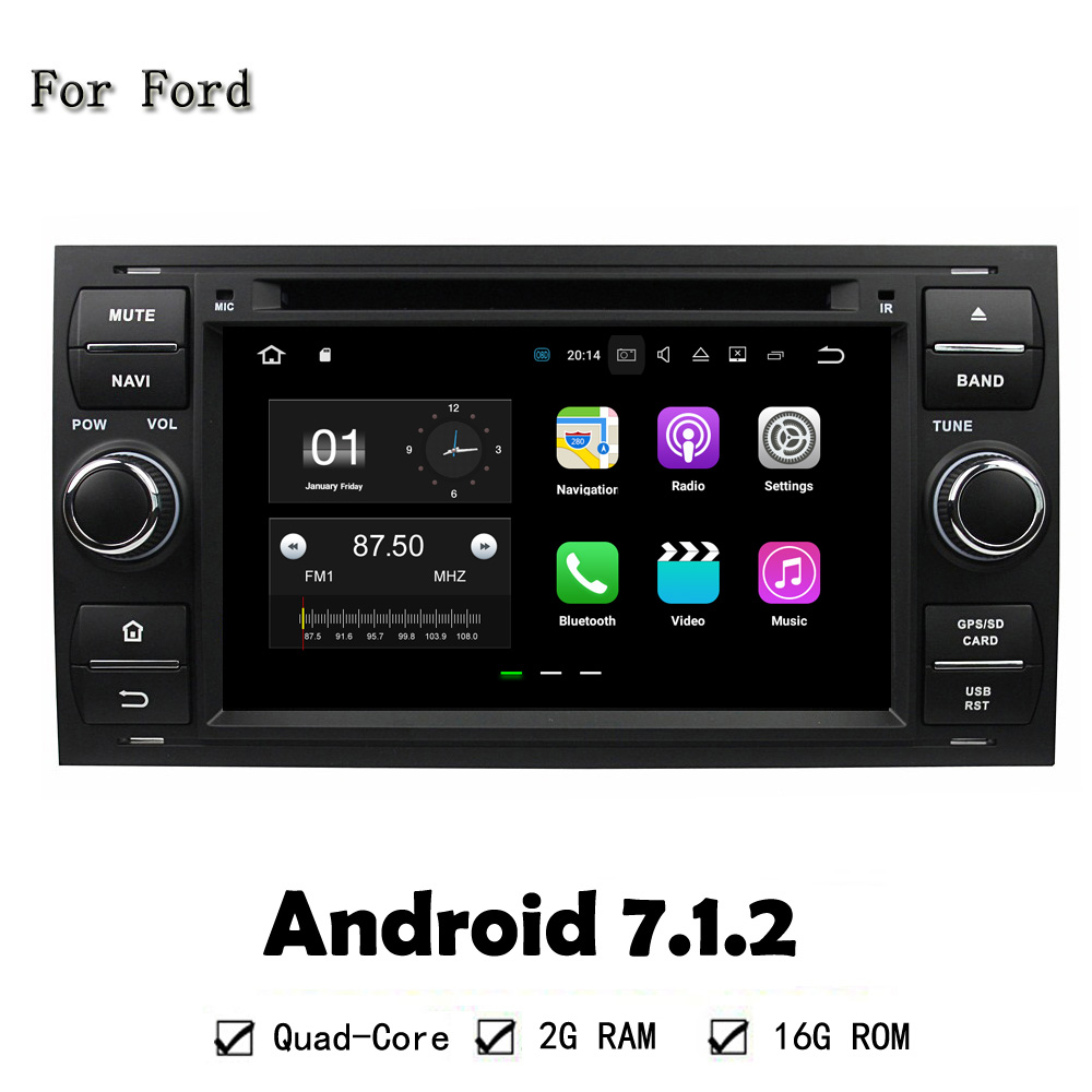 Android 7.1 RAM 2G Car DVD Player GPS Navi Auto Stereo Unit For Ford FOCUS Mondeo S-MAX C-MAX Galaxy Fiesta Form Fusion Connect baraf s 2g