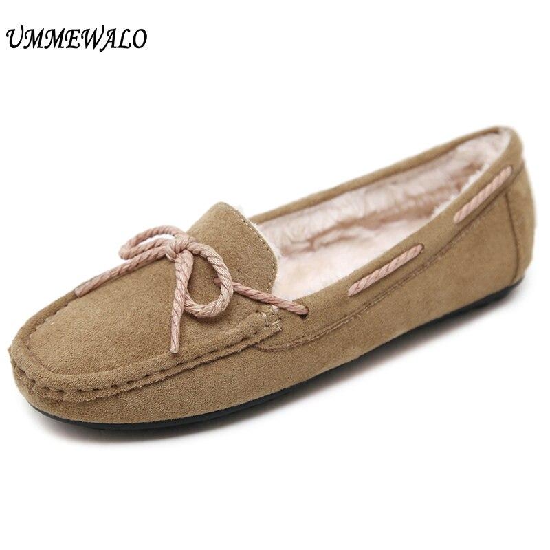 UMMEWALO Women Flat Shoes Winter Warm Loafer Shoes Woman Flock Short Plush Cotton Bow Shoes Mother
