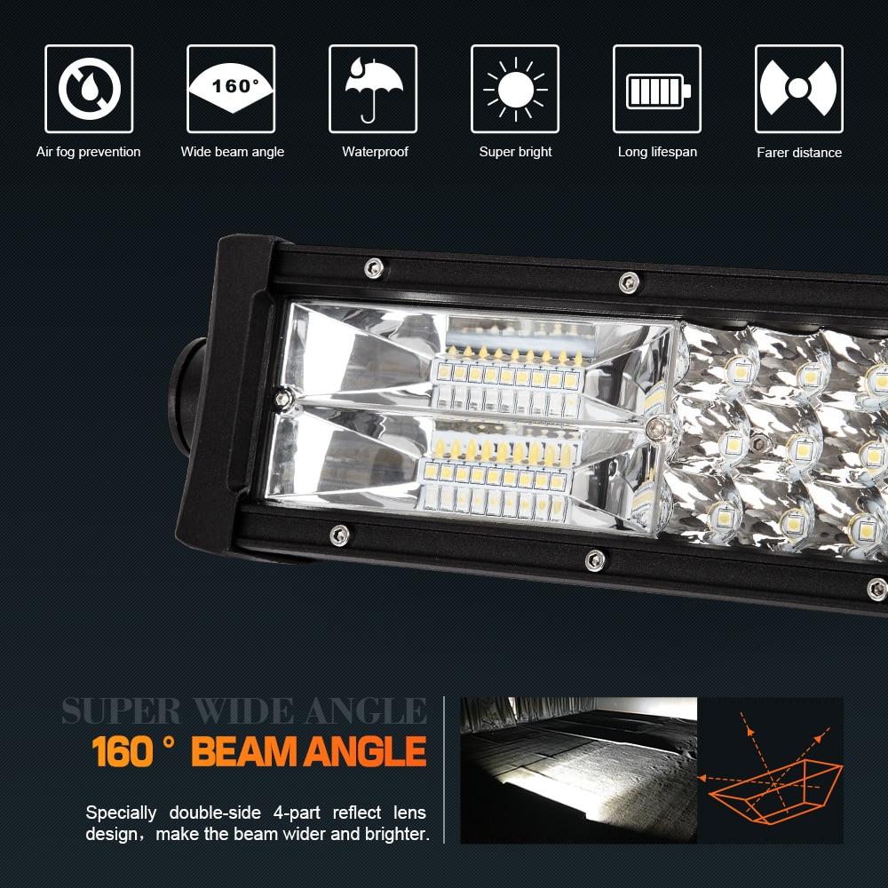 WEISIJI Super Bright 270W 22inch Tri row LED Light Bar Combo Beam 4 ...