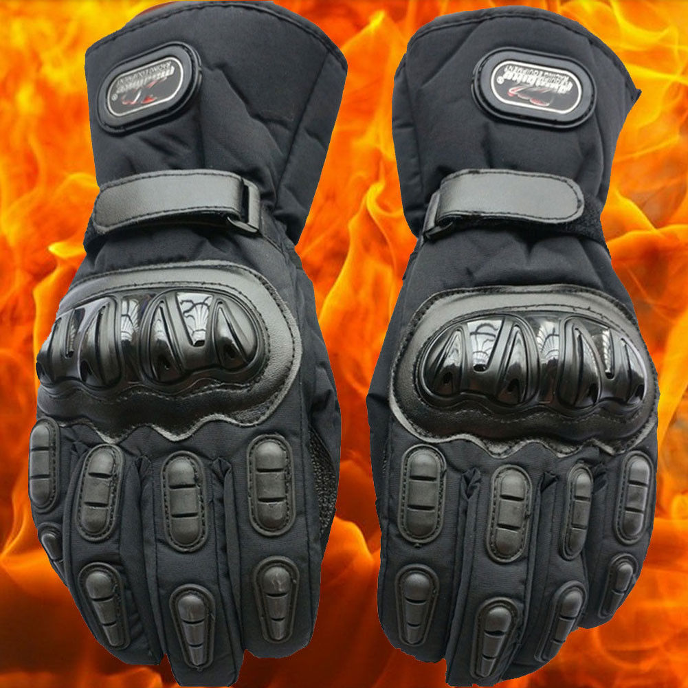 Men Winter <font><b>Full</b></font> Finger Leather Motorcycle Gloves Black Windproof <font><b>Cycling</b></font> Protective Gears Motocross Thickening Racing Gloves