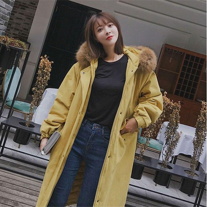 Parkas de talla grande para mujer abrigo de algodón de cuello de piel largo de invierno grueso abrigo suelto con capucha de Safari chaqueta femenina de tela de algodón n155 - 3