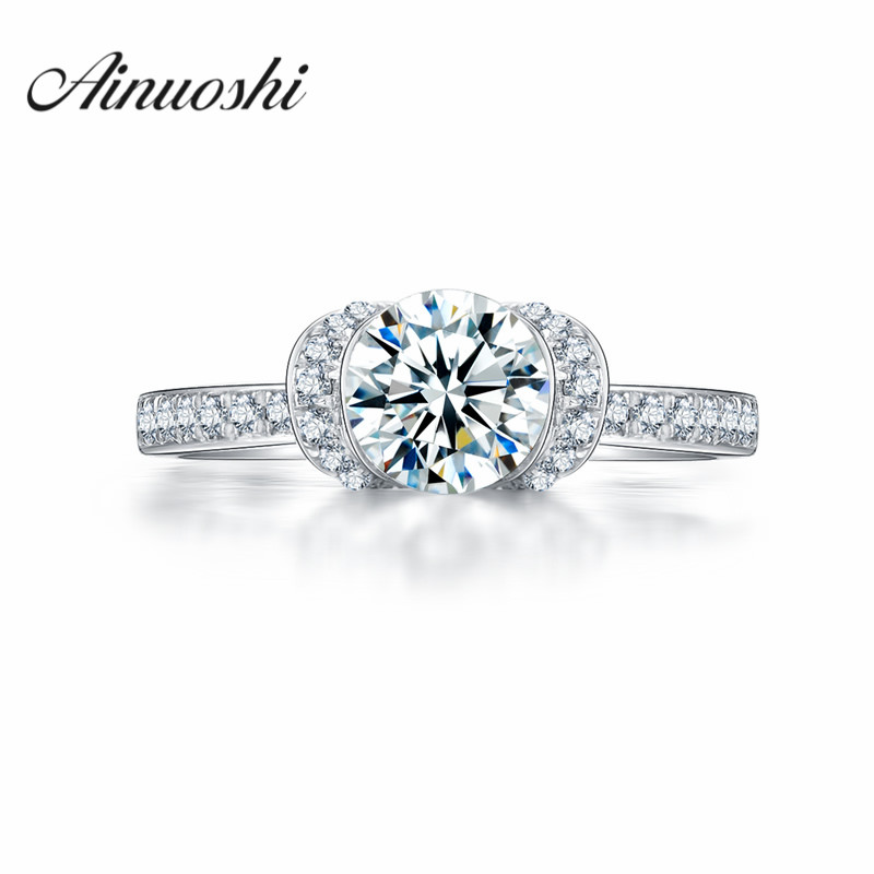 AINOUSHI New Arrival Accessories Classic Ring Married Female Brand Lovers Ring Sona nscd Anniversary Ring Ring Jewelry