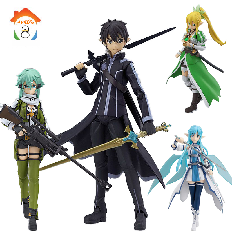Apaffa 15 CM Elf Swordsman Shino Kazuto Asuna Action Figure Toys Figma Sword Art Online Anime PVC Collectible Model Toys BN133