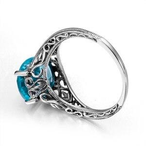 Image 4 - Joyería clásica princesa corte azul de luz de la luna cristal anillo de boda 925 Plata mujeres Vintage anillo de compromiso fino traje joyería