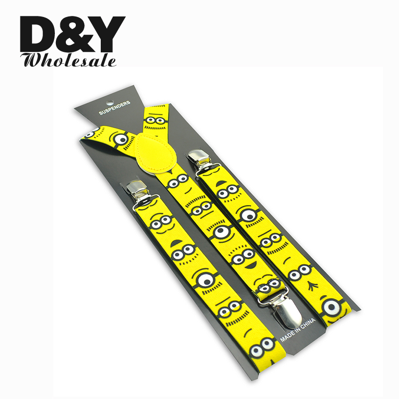 Minions Eyes Yellow Men women women Suspenders Cartoon Braces For Christmas Gift Klip berbentuk Y Pada Slim Suspender Elastic Braces Gallus