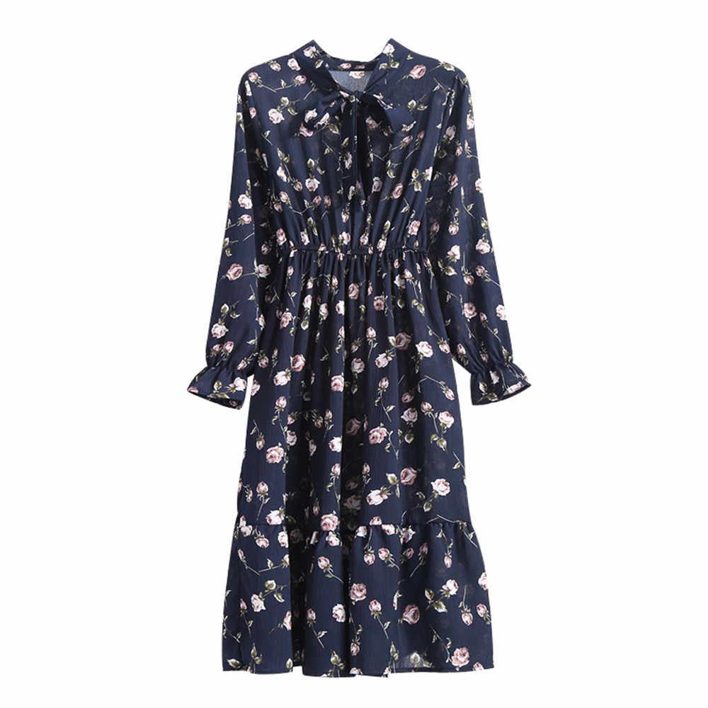Camisa Negra coreana Vestidos Oficina Polka Dot Vintage otoño Vestidos Mujer invierno vestido 2019 Midi Floral manga larga vestido femenino