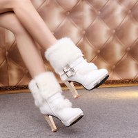 2017 New Girls Winter Boots Diamond Waterproof High Heeled Boots And Cashmere Club Women Boots