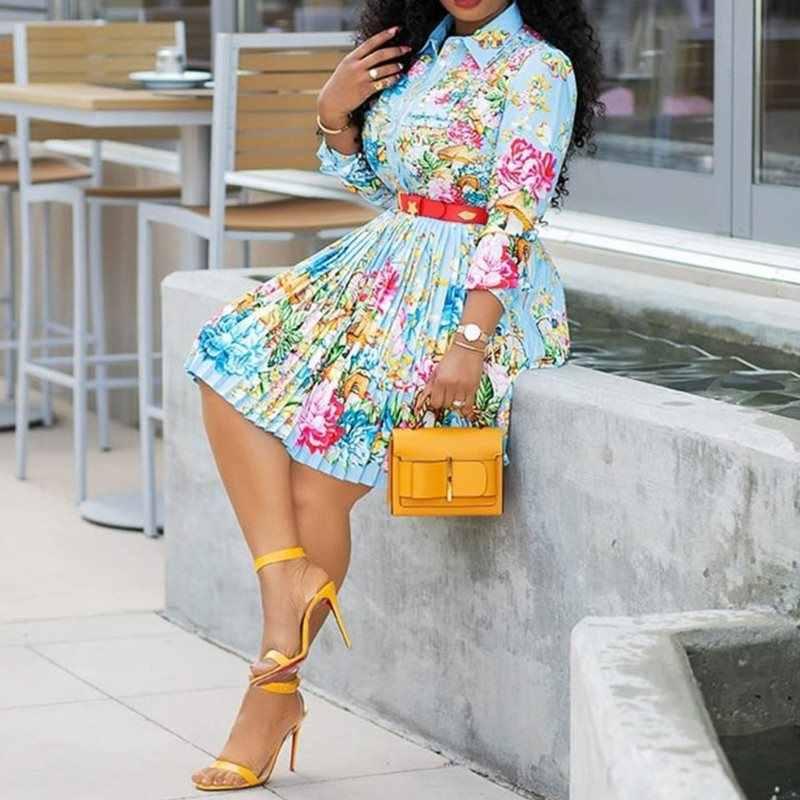 Цветочное Плиссированное Платье женское повседневное офисное платье размера плюс 4XL осень 2019 Бохо Африканское элегантное платье с принтом и длинным рукавом осеннее платье