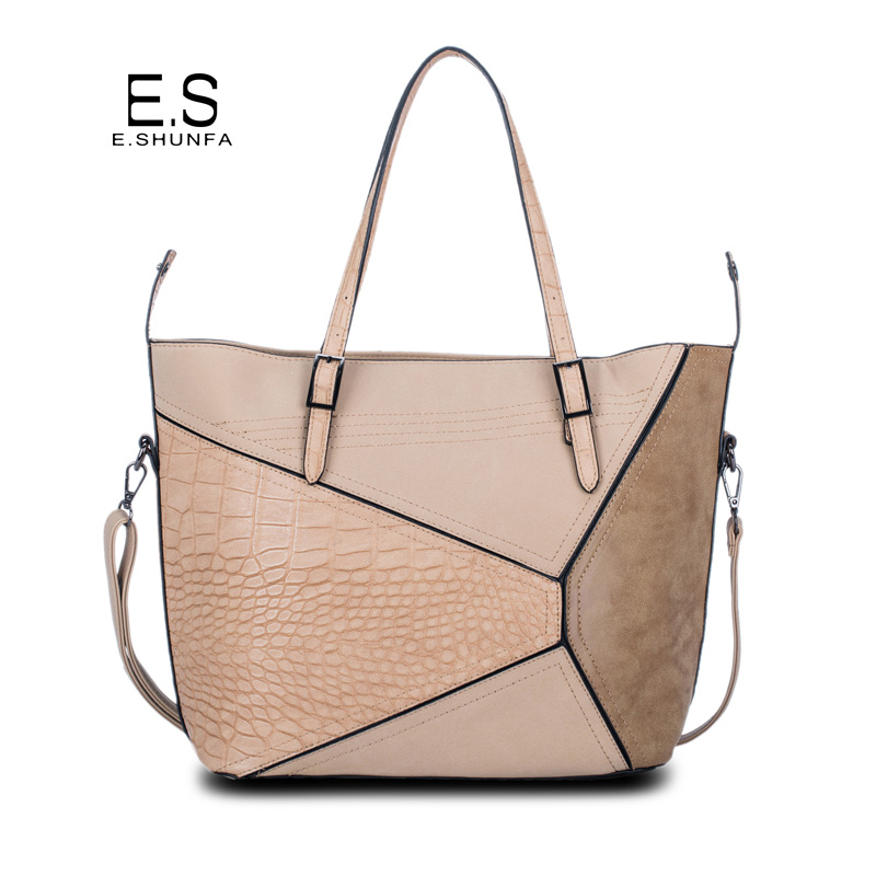 Printed Women Shoulder Bags 2017 New Fashion PU Leather Single Shoulder Bag Thread Patchwork Casual Womens Bag Large Capacity enopella thread casual pu leather women