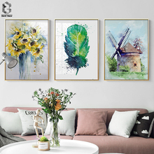 Modern Watercolor Feather Sunflowers Canvas Painting Wall Art Posters and Print Nodic Decorative Pictures For Living Room