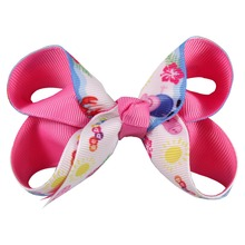 Adogirl 10pcs 3 Inch Cartoon Hair Bows with Alligator Clip Lovely Girs School Party Hairpins Handmade Ribbon Accessories