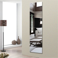 4Pcs/Set Glass Mirror Wall Stick Decorative Mirrors Self Adhesive Room Glass Mirror Stick On Art Decor kids bathroom living room