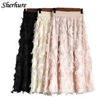 2018 Fashion Summer Skirt Women Elastic High Waist Solid A-Line Skirt Tassel Boho Skirt Saias Femme Streetwear Casual Cute Skirt
