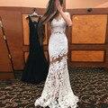 Robe De Soirée Lujo Applique de La Sirena Vestido de Noche 2017 Nueva estilo Sheer Camiseta Con Cuello Redondo Blanco de baile vestido Largo Vestido De Festa